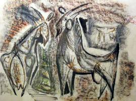 Cabras, Dibujo grafito y cera